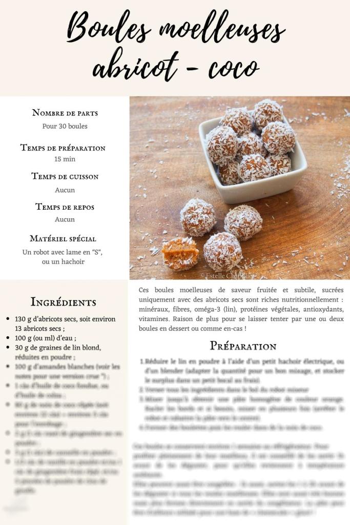 Exemple fiche recette : Boules moelleuses aux abricots secs