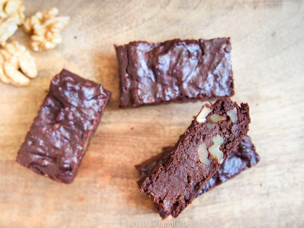 Brownie chocolat-courgette-noix, vegan et sans gluten