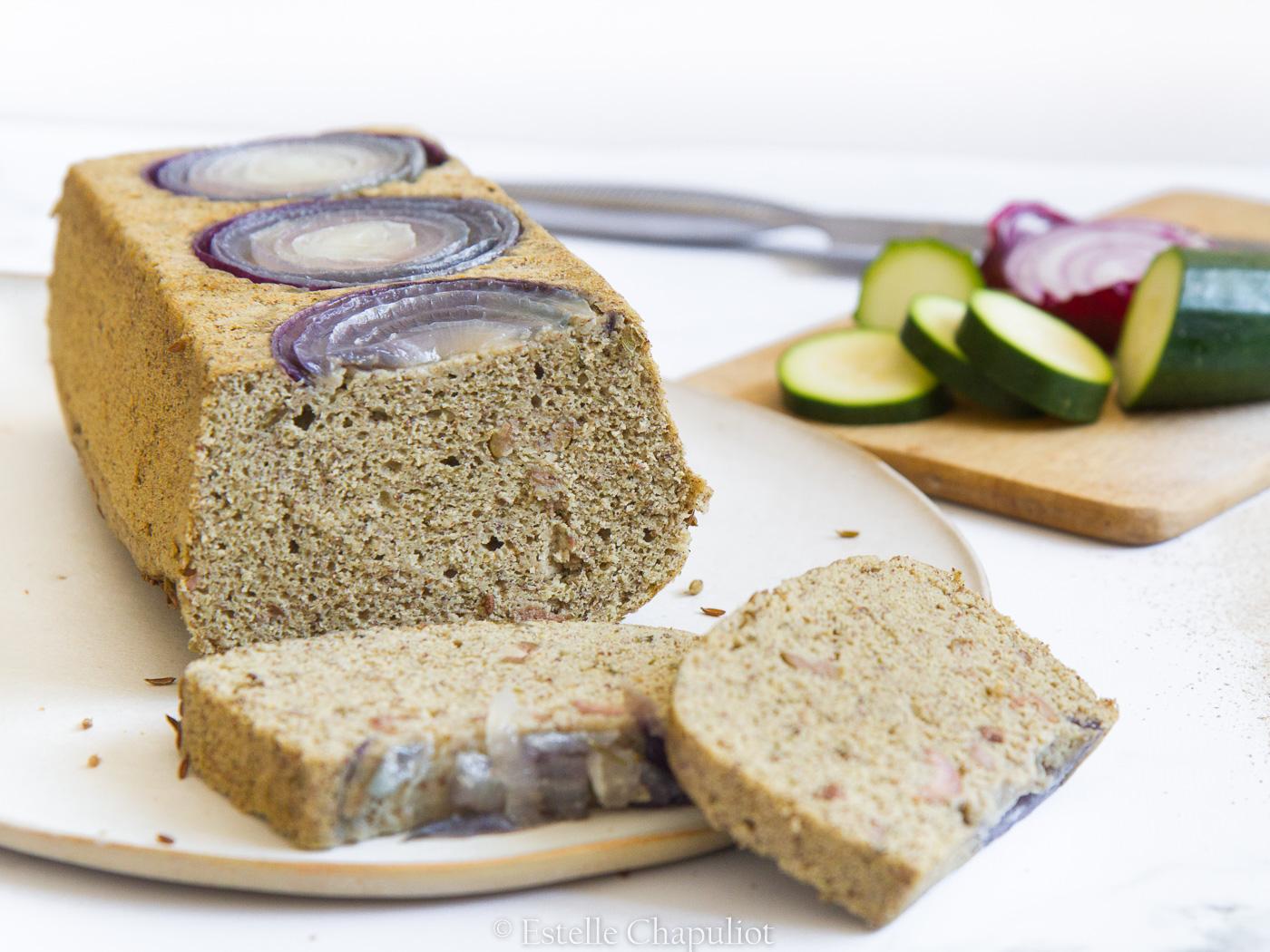 Cake courgette olives oignon et pois chiches, vegan et sans gluten