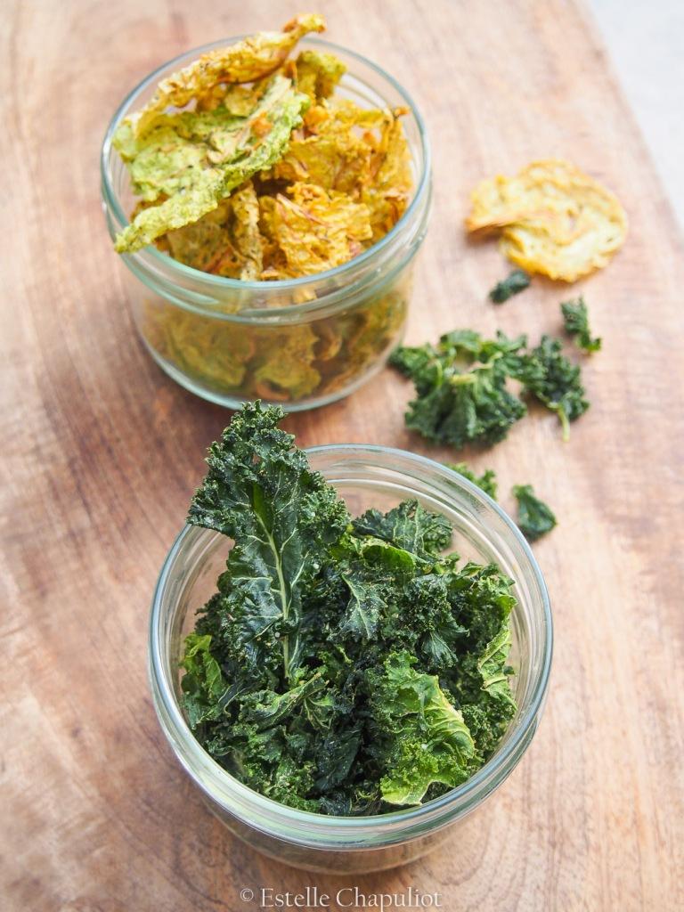 Chips de chou kale et chou frisé aux épices
