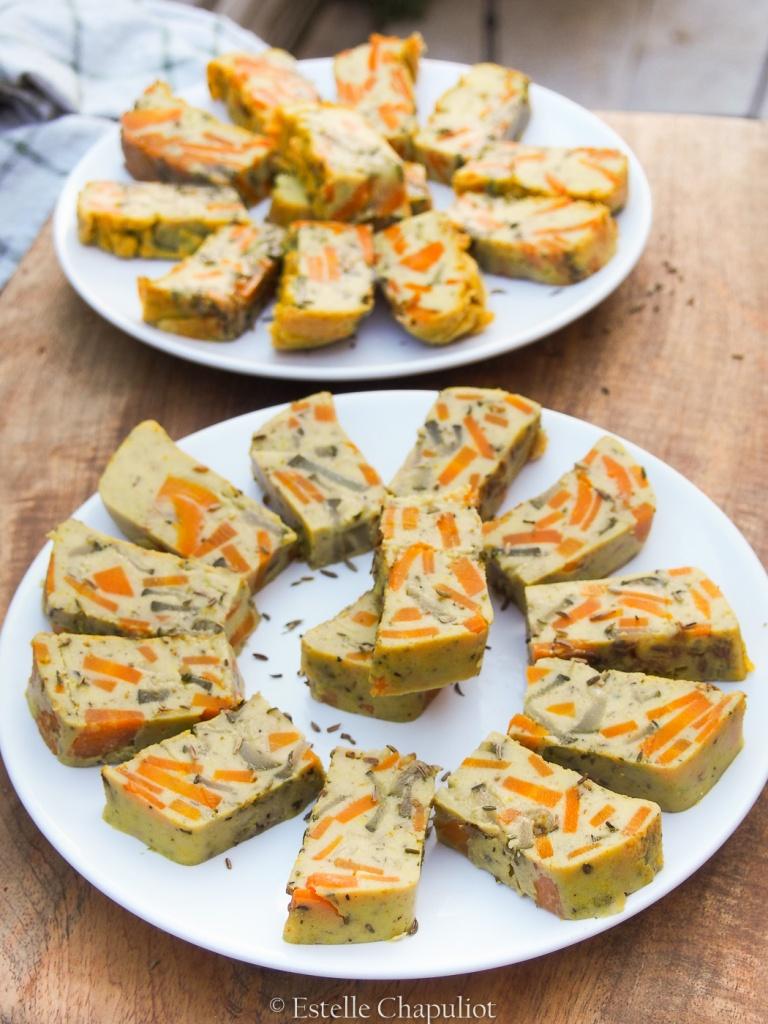 Flan de pois chiches aux carottes et aux courgettes, vegan et sans gluten