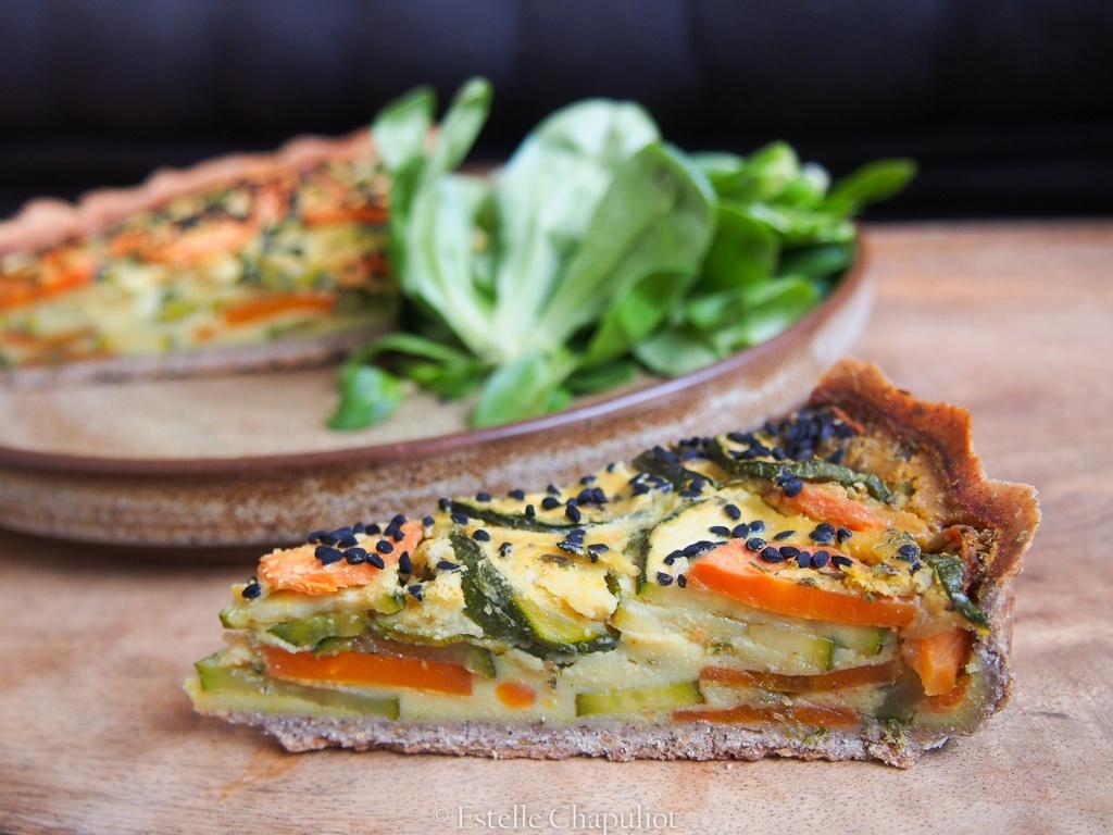 Quiche végétale aux courgettes et carottes, pâte sans gluten sarrasin