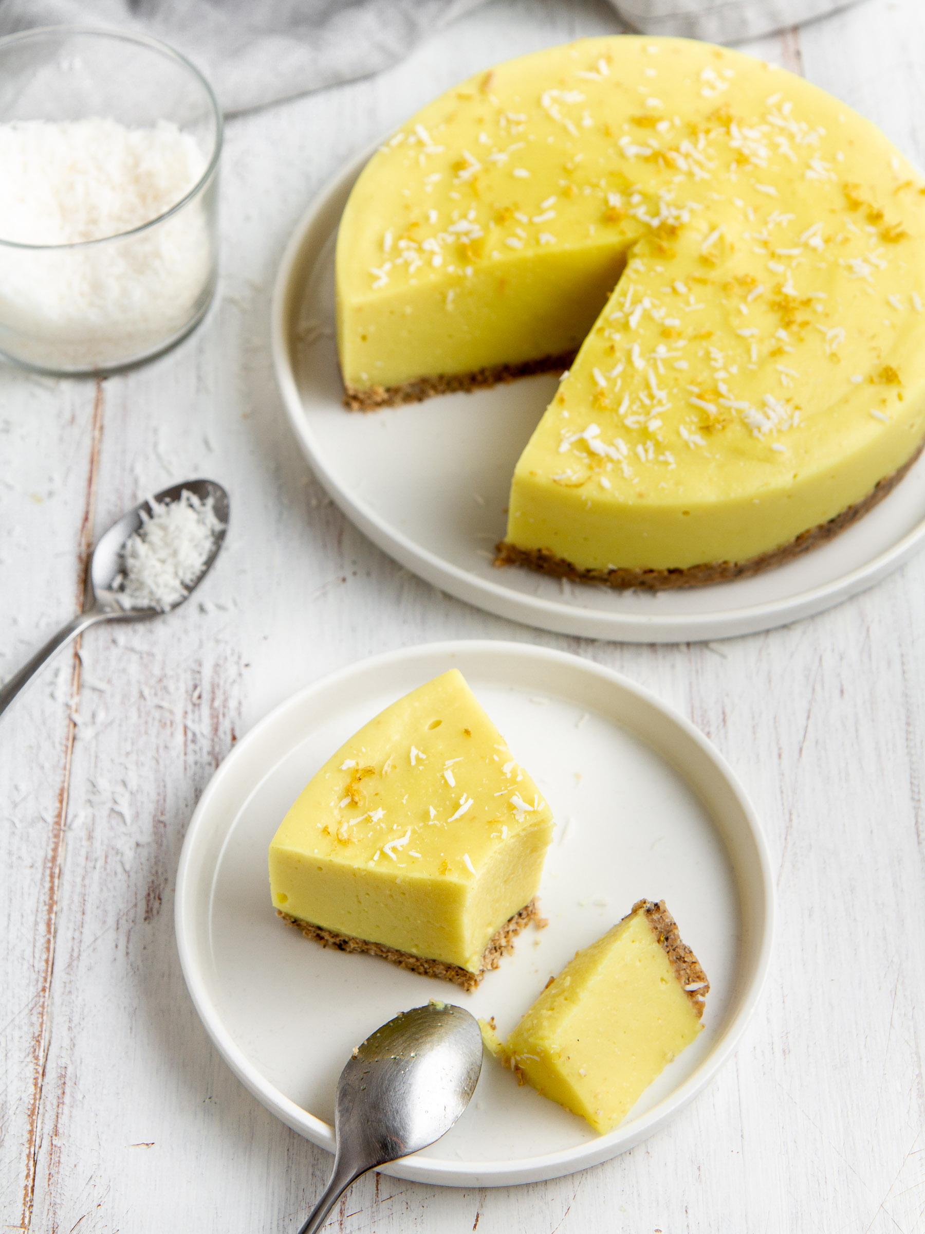 Entremet vegan citron - coco ; pâte sans cuisson aux flocons d'avoine sans gluten