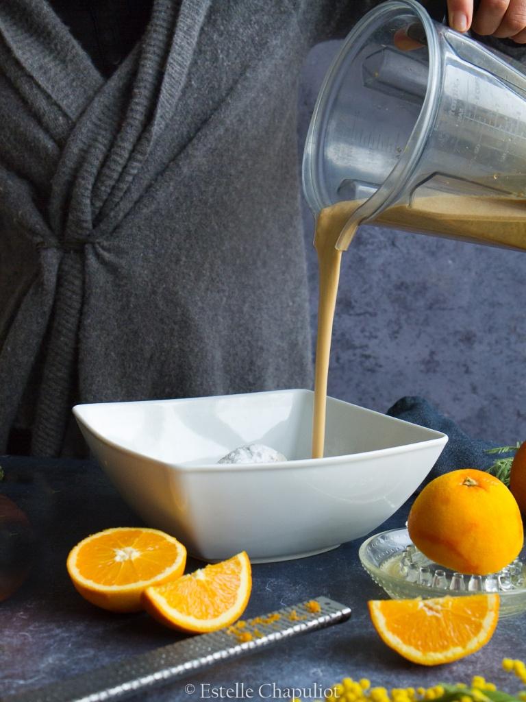 Cake à l'orange et au sarrasin, cuit vapeur (vegan et sans gluten)