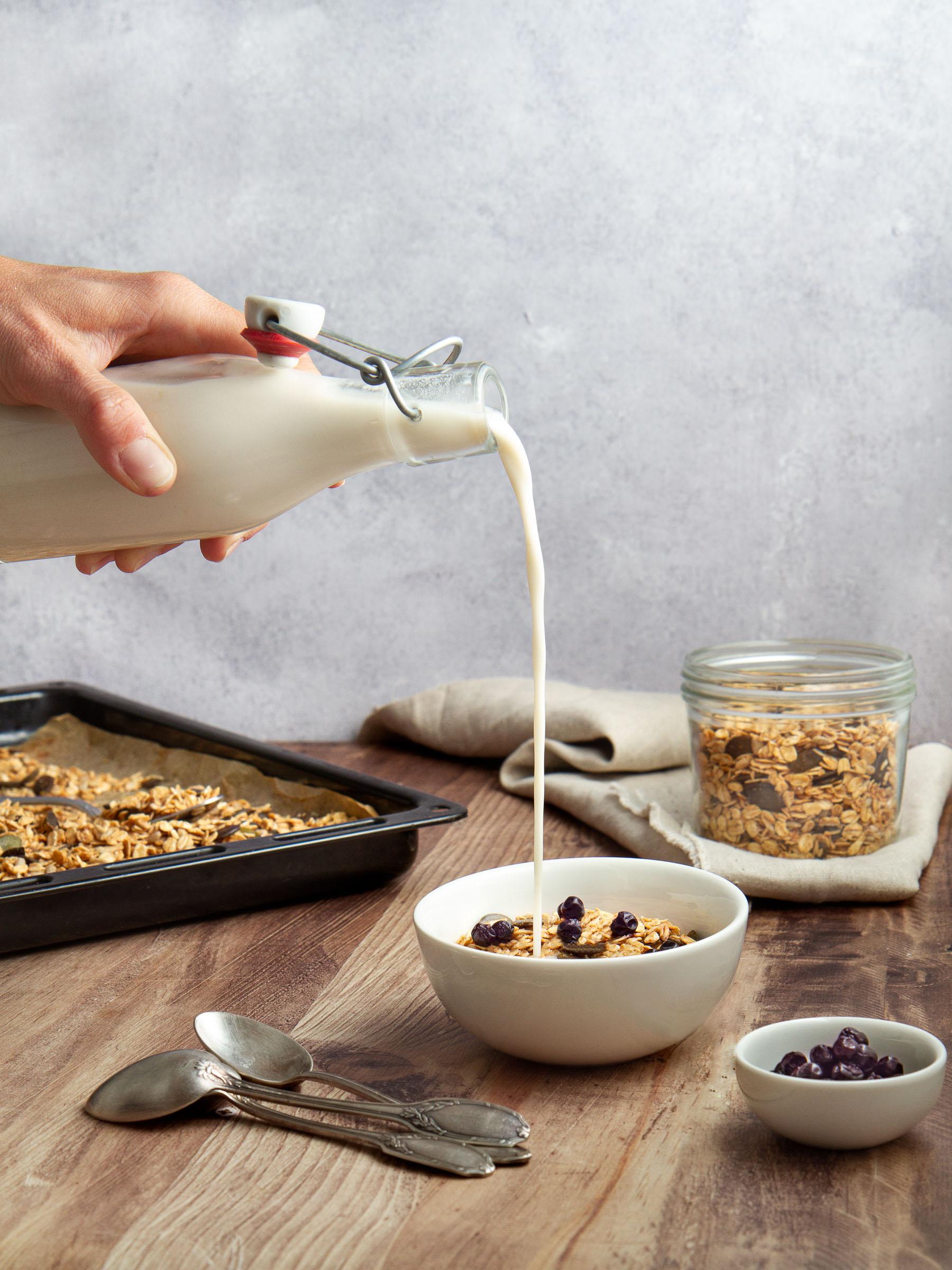 Granola aux gros flocons d'avoine, graines de tournesol et courge, sirop d'érable