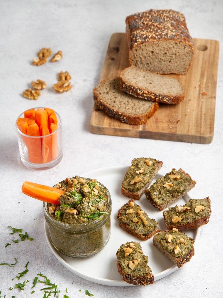 Pâté végétal aux lentilles vertes, sarrasin et noix - Pain aux grains de riz complet et lentilles vertes (sans gluten)