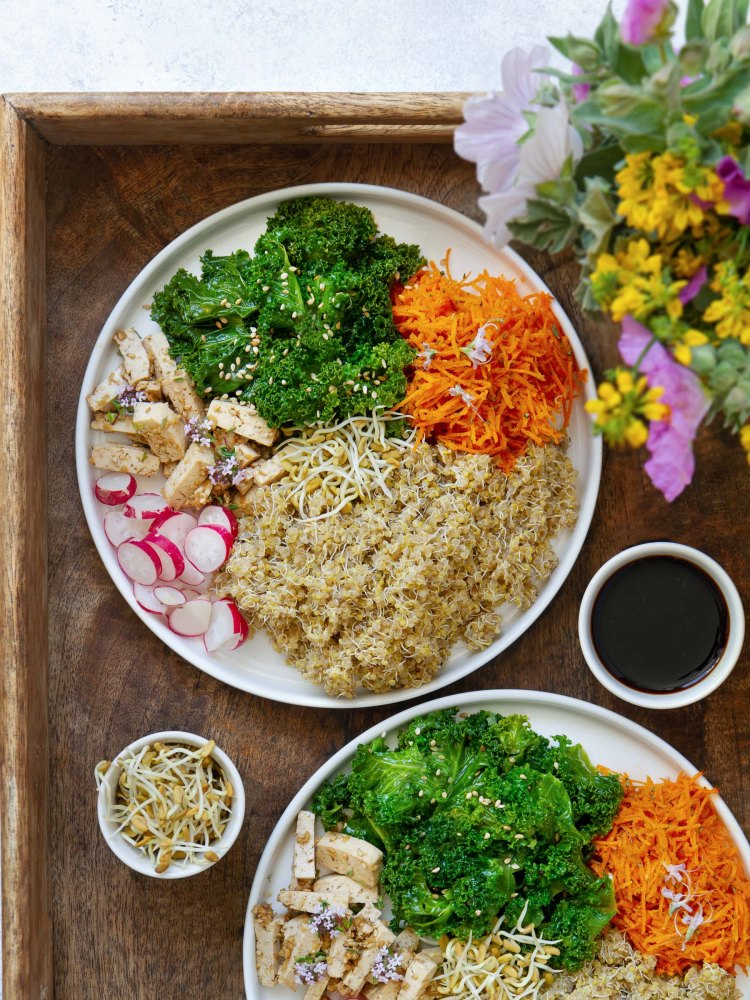Assiette colorée : quinoa ; tofu mariné au tamari, thym et gingembre ; salade de kale, crudités