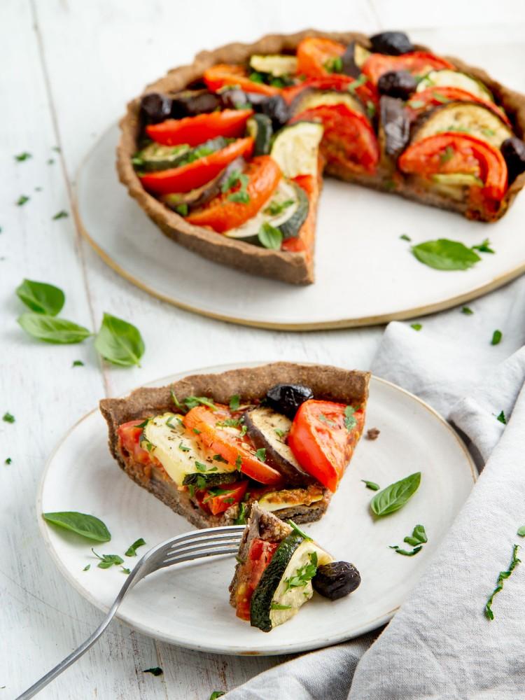 Tarte tomate courgette aubergine façon tian (vegan, sans gluten)